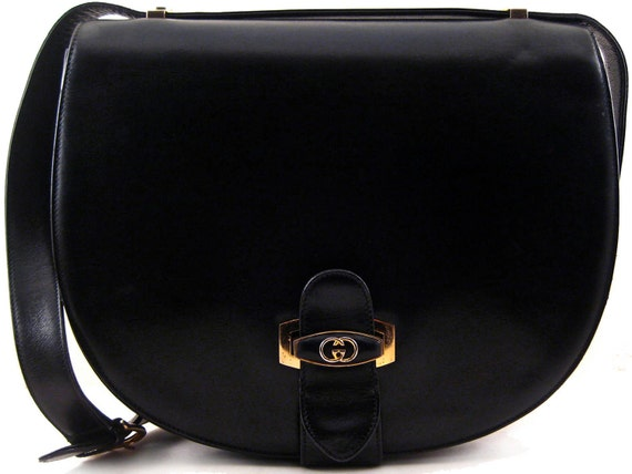 Authentic Rare GUCCI Saddle Black Leather Purse Extra Large Very Rare Made in Italy GG