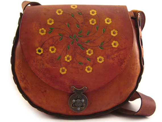 1970s Large Tooled Leather Saddle Bag Turnlock Wheel Floral Hand Painted Beautiful