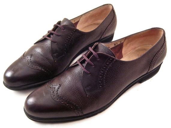Salvatore Ferragamo Vintage Brown Leather Oxfords Menswear Inspired Authentic Womens Size 8.5