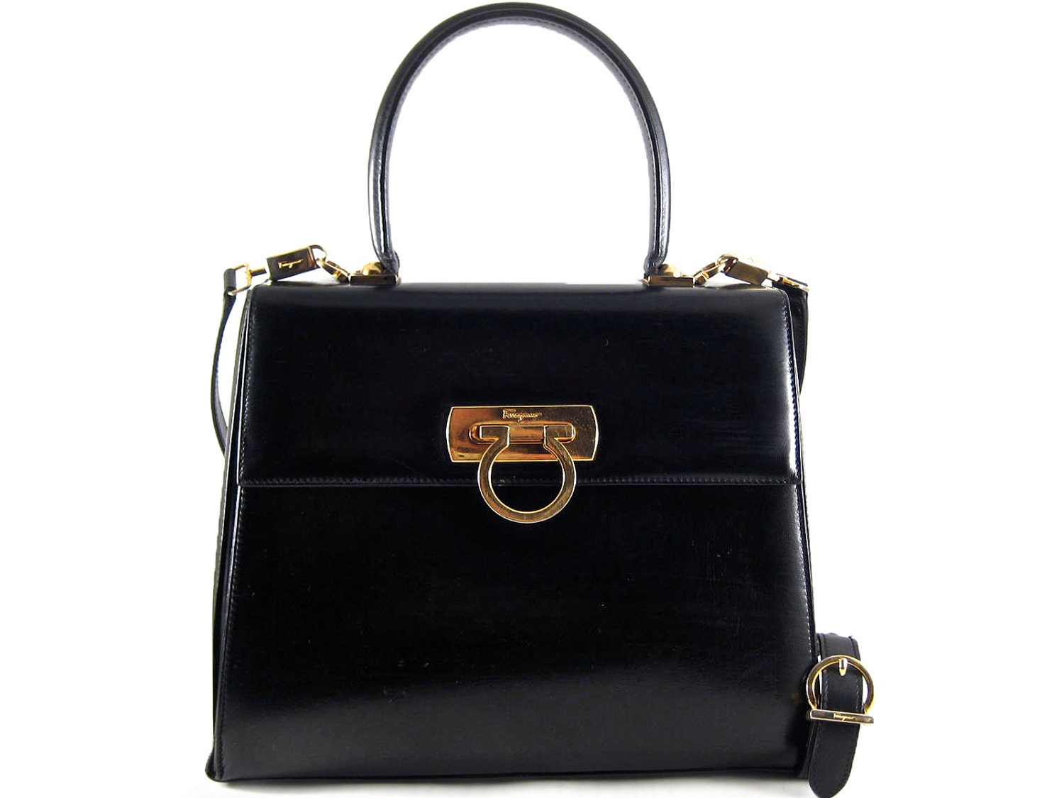 Salvatore Ferragamo Authentic Vintage Black Leather Satchel