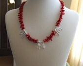 Red Coral and Silver Branch Spike Necklace