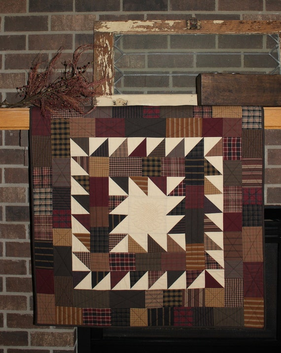 Primitive Square quilted wall hanging