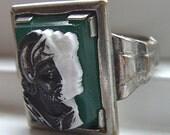Pre 1920s Art Deco Silver Trojan soldier Cameo Vintage RING