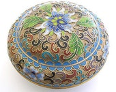 1960s ASIAN Cloisonne enamel FLOWER brass Vintage Trinket BOX