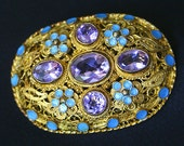 Chinese Purple Amethyst  Sterling Silver Gold and Enamel Vintage Brooch
