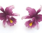 Lovely 1950s West Germany orchid Vintage earrings