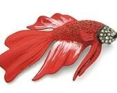 Art  Deco RED Siamese fighting FISH RS enamel Vintage Brooch