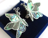 Stunning Abalone Shell Butterfly HECHO EN MEXICO Vintage Earrings