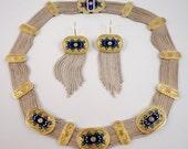 Stunning TURKEY Sterling Silver Gold Enamel Eastern Vintage Necklace Earring Set
