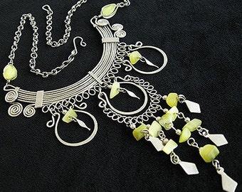 Ethnic Boho  Silver wire wrap YELLOW Fringe Vintage NECKLACE