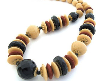 1930s  Czech ART DECO Jet Black tan Glass bead Vintage Necklace