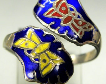 SALE Beautiful Butterfly Enamel Sterling Silver Vintage Bypass Ring