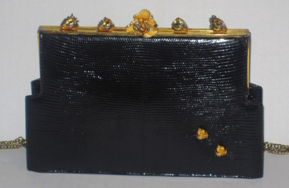 Unique Beautiful 1940s Black Leather with Rhinestone incrusted Gold Rose Hand bag