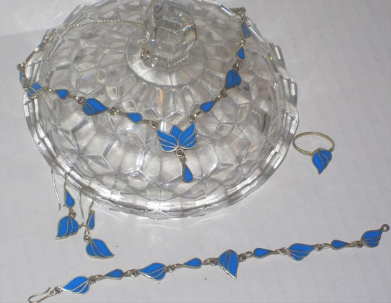 Beautiful Afghan Silver with Blue Enamel inlay Vintage Necklace Bracelet Ring Jewelry Set