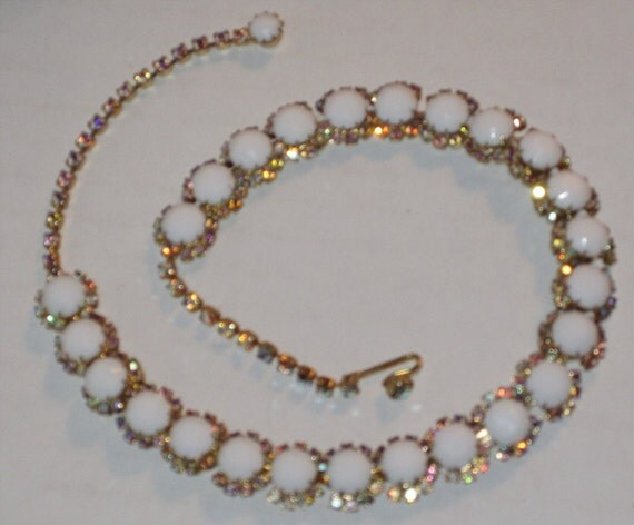 Circa 1950s Stunning Kramer Milk Glass and Aurora Borealis Rhinestone Vintage Chocker Necklace