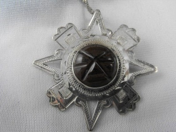 1960s MYAN Sterling Silver  CARVED Brown ONYX Face  Vintage Necklace Singed