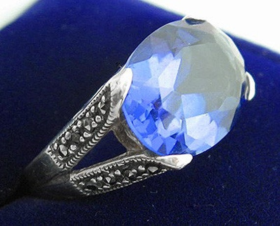 Lovely Blue Crystal Marcasite Sterling Silver Ring
