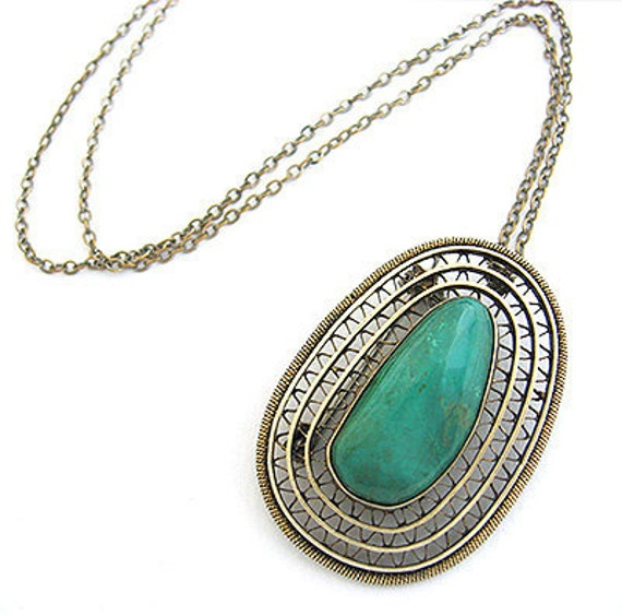 1950s ISRAEL old Silver TURQUOISE-stone Vintage PIN-Necklace