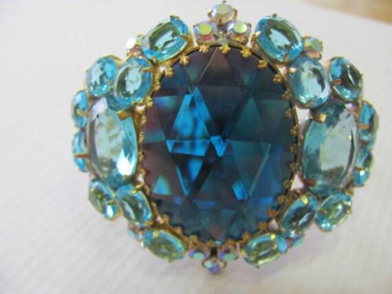 Stunning HUSAR D Blue CZECH Crystal Rhinestone Vintage Clamper Bracelet