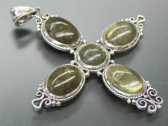Stunning Large LABRADORITE  Sterling Silver Cross Vintage Pendant