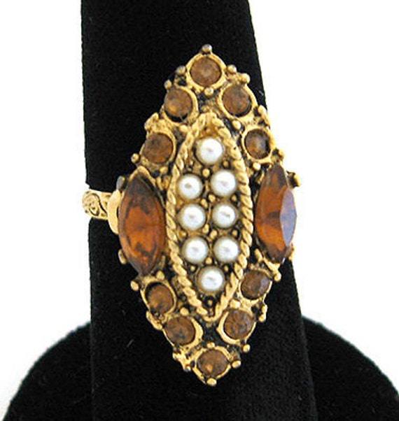 Lovely Deco Design gold AMBER rhinestone Pearl Cocktail  Vintage RING