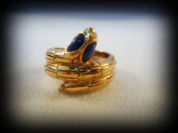 Lovely Sterling Silver Gold Egyptian Snake Vintage Ring