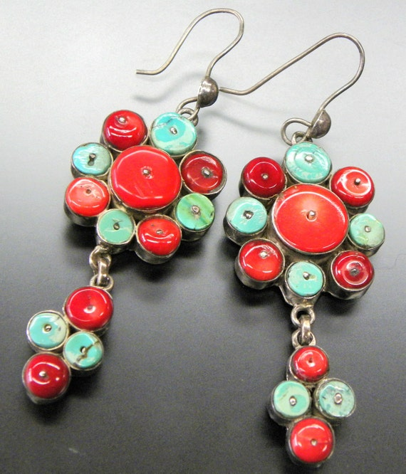 GENUINE Red CORAL and TURQUOISE Hand Made Sterling Silver Earrings