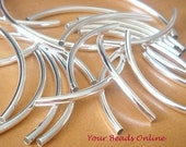 Sterling Silver Curved Tube 50mm x 3mm 12 pcs