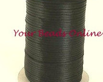 Rattail Satin Cord 2mm Black 5 yards or 15 feet   15 Colors Availables