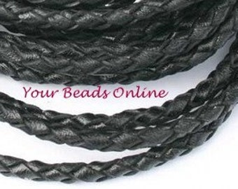 Braided Bola Cord Leather 3mm Black 1 yard or 3 feet Available on Brown