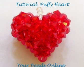 Jewelry Beading Tutorial Swarovski Puffy Heart PDF Instructions Step by Step FREE SHIPPING