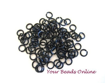 Aluminum Anodized Jump Rings 6mm Black 18 gauges 100 pcs