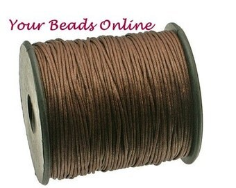 Wax Cotton Cord 1mm Dark Brown 8 yards or 24 feet 20 Colors Available