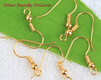 Ear Wire Earring Hooks Gold Plated 100 pcs Fishhook with Ball and Coil French Earring Hook