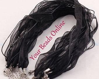 Organza Voile Ribbon Cord Necklace Black 5 pcs