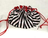 Drawstring Gift Bag Pouch Pirate Stripe & Red