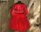 Pirate Princess Smocked Peasant Tulle  Dress, Childrens Clothing  4T 5T Ready to Ship RESERVED