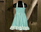 Smocked Halter Dress Aqua Stripes & Polka Dots Size 5T Childrens Clothing Ready to Ship