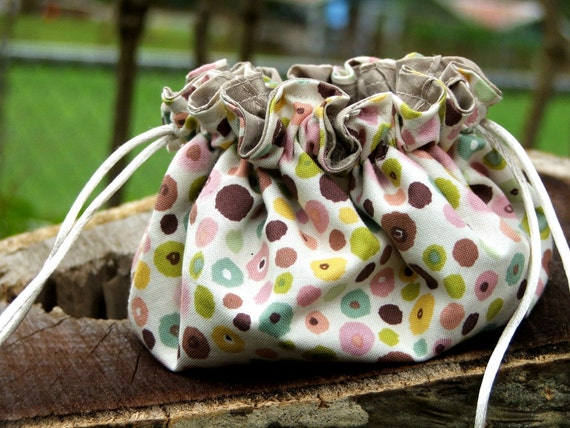 Drawstring Pouch, Jewelry Bag, Makeup Bag Spring Dot & Champagne Ready To Ship