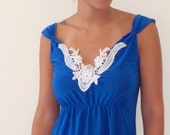 On Sale romantic  'Mary' Mini Dress with Beautiful White Embroidery- Royal blue