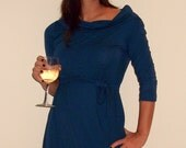 Blue Tunic with sleeves and gorgeous draped neckline