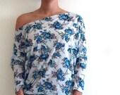 Cotton Top/ Tunic- Dolman Oversize Cotton  Maternity Tunic, White floral fabric