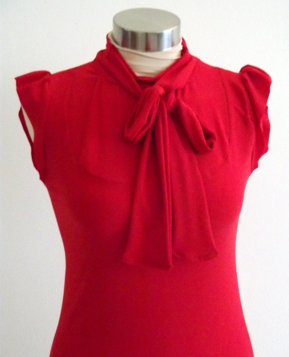 OOAK Romantic Blouse with Cute Tiny Sleeves- Red