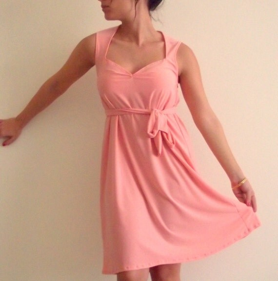 Pink Dress- Sweetheart Peachy Pink a line Dress with a matching ribbon