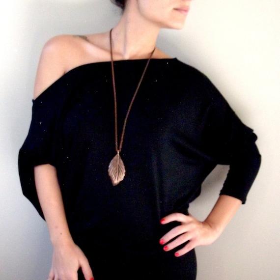Maternity Tunic Top- Black Dolman  Oversize Cotton Tunic Top