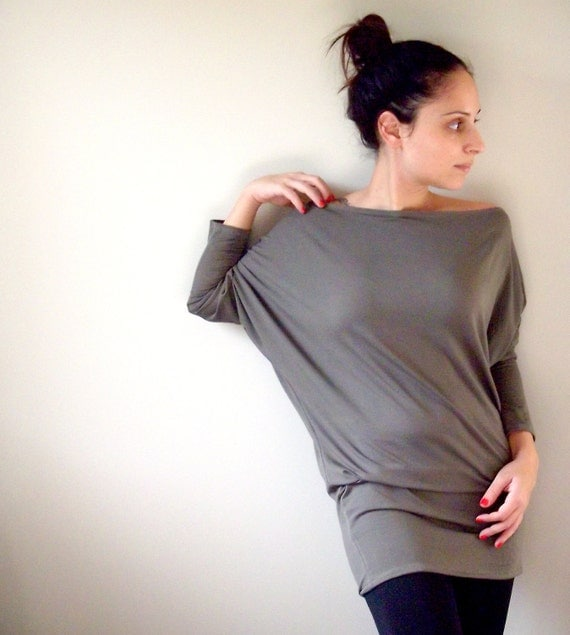 Cotton Tunic Top- Dolman Oversize Grey Tunic Top with bat sleeves