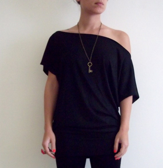 Black Shirt -Oversize Summer  Black cotton shirt  with short bat sleeves