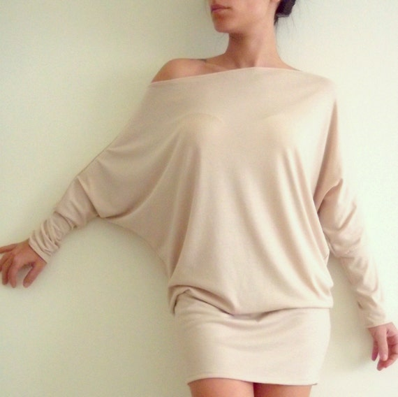 Oversize Cotton Tunic Top- Cream (beige) Tunic Top with bat sleeves