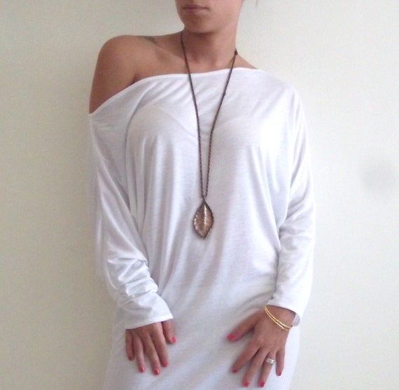 Cotton Shirt / Tunic-  Oversize white Cotton Shirt/ Tunic with bat sleeves