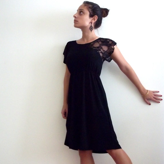 Cocktail Black Dress- 'Rome' cocktail black dress with lace at the top
